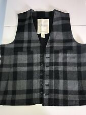 RALPH LAUREN DENIM & SUPPLY Wool Vest Black Gray Plaid Buffalo Checkered Mens XL