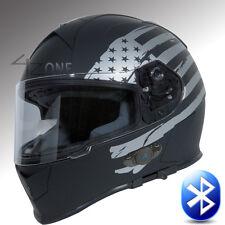 T14B Bluetooth Motorcycle helmet Full face Dual Visor Flat Black Silver Flag L