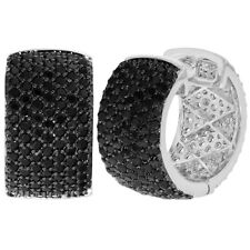Rhodium Plated Micro Pave Black Crystal Huggie Hoop Woman Lady Earrings 18mm