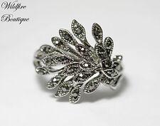 ON SALE!!! Vintage Antique Silver Marcasite Style Vine Leaf Ring w/ Diamanté