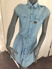 """Gstar Size small 34"""" Chest Blue and White Gingham short sleeved shirt Dress"""