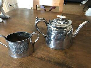Konvolut alte englische Teekanne und eine Zuckerdose