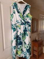 Fab Per Una White Multi Floral Smart Dress, Sleeveless, Fully Lined, Size 16, VG