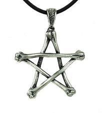 Skeleton Bone Pentagram Necklace Gothic Wiccan Jewelry Deathrock Rockabilly Punk