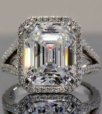 Huge 20.00 Ct Classic Diamond Emerald Cut Split Shank Engagement Ring 925 Silver