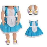 Trendy Doll Clothes Outfit Blue Dress Skirt For 18'' Girl Doll Toy Gift