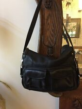 Vtg Black Pebbled Leather Fossil Purse Shoulder Bag  1954 #75082 Big Key