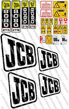JCB 8080  MINI DIGGER COMPLETE CHROME DECAL SET WITH SAFTY WARNING