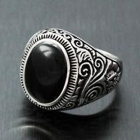 Men's Vintage Natural Oval Genuine Black Onyx Gemstone 316L Stainless Steel Ring
