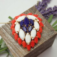Vintage Red White Blue Marquise Rhinestone Gold Tone Layered Pin Brooch