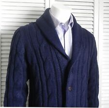 NEW Mens SIZE 2XL ALPACA Navy Blue Shawl Collar Knit Cable Cardigan Sweater PERU