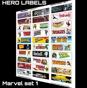 🔥HERO LABELS BRAND Comic Book Storage Box Divider Labels Marvel set 1