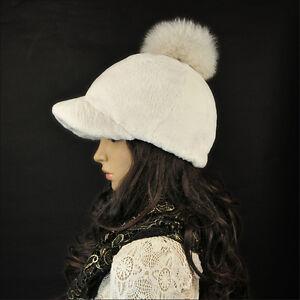 Rex Rabbit Fur Fox Pom Poms Women's Girls Winter Warm Causal Baseball Hat Cap