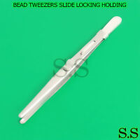 TWEEZERS BEAD PEARL WORK HOLDING SAFE NO SCRATCH RUBBER COATED 7mm SOFT TIPS E1
