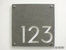 Modern House Numbers,Square Concrete & White Acrylic - Sign Plaque - Door Number