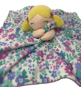"""Carters Plush Baby Lovey Floral Purple Security Blanket Blonde Pigtail 14""""x14"""""""