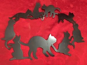 Black Cat Wall Decor Metal Circle Of Friends Cats Vintage 1986 12 in Halloween