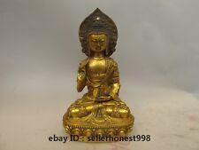 12 Tibet Bronze gilt Wearing a Buddhist clothing Sakyamuni Buddha Statue