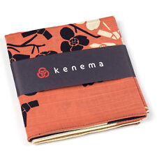 Navy and Peach Cotton Japanese Handkerchief