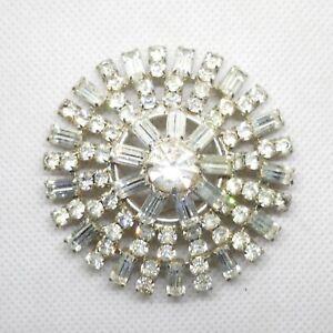 "Vintage Star Burst Rhinestone  Brooch  2 1/4"" Pin"