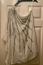 South White Embellished Silver Dress One Shoulder Batwing Size 14 BNWT