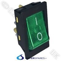 GREEN NEON ROCKER SWITCH POWER ON OFF 2 POLE 4 PIN 22MM X 31MM 240V 30A RATED