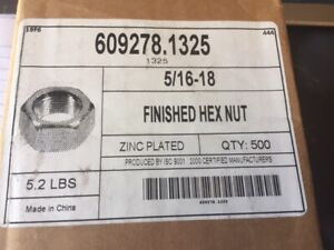 """(Box of 500) 5/16""""-18 Finished Hex Nuts Zinc Plated Steel - BUY MORE & SAVE 10%!"""