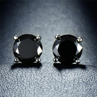 0.5Ct Created Black Diamond Solitaire Earrings Solid 14K White Gold Basket Studs