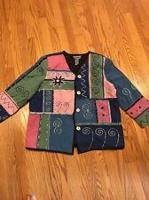 Womens Blazer Size Medium Indigo Moon Jacket Buttons Down Dressy Casual #