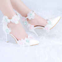 Womens Lace Floral Pointy Toe Rhinestones Plus Size Korean Slip On Wedding Shoes