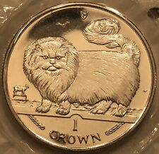 Bu Copper Nickel 1997 Isle Of Man Longhair Smoke Cat 1 Crown Coin With Brochure