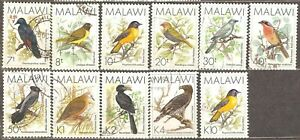 Malawi: selection of 11 used stamps, birds, 1988/1994, Mi#504-514, 649