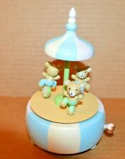 Vintage: Wood Musical Merry-Go-Round with Bears Blue and White