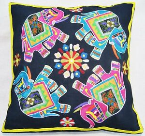 Fine Indian Embroidered Cushion Covers - Hathi