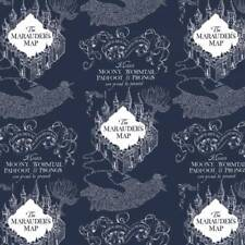 Harry Potter Flannel, Fabric By The Yard, Dark Blue Marauders Map, TheFabricEdge