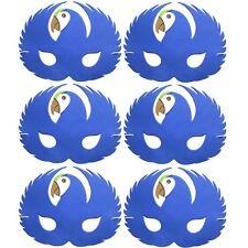 6 Foam Blue Parrot Masks - Animal Fancy Dress For Children & Grown Ups