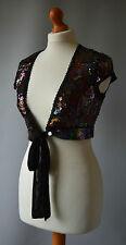 Ladies Karen Millen Black Multi Colour Sequined Shrug Cardigan Size 1 Size 6 / 8