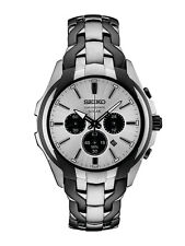 New Seiko Solar Chronograph Two Tone Stainless Steel Men's Watch SSC635