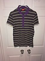 Mens Hugo Boss Golf Short Sleeve Striped Polo Shirt Black Purple Sz Medium
