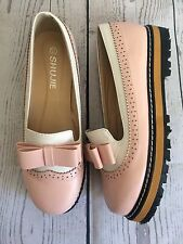 Women's Platform Oxfords Pink and White Slip On Shoes Retro Punk SHUJIE SZ 39/8