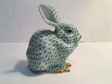 Herend Green Fishnet Bunny Rabbit Sitting MINT Retail: $510