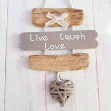 CHIC SHABBY NAUTICAL BEACH DRIFTWOOD WOODEN LIVE LAUGH LOVE HEART PLAQUE SIGN