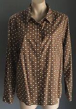 NWOT Fab 50's Vibe AGENDA Brown, White & Black  Print Long Sleeve Shirt Size16