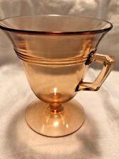 Fostoria Glass Art Deco Priscilla Amber Footed Handled Custard Cup Mug #2321
