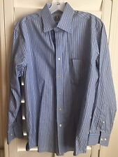 PETER MILLAR Button Cotton Long Sleeve Dress Shirt Blue White Stripes 15.5 R