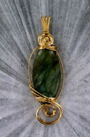 LABRADORITE GEMSTONE PENDANT, NECKLACE IN 14KT ROLLED GOLD   WIRE WRAPPED