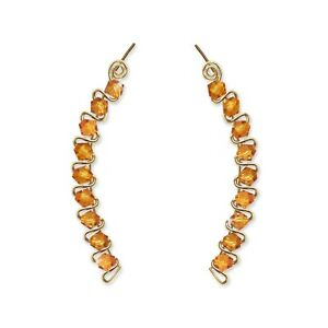 Ear Climbers Ear Crawlers Sweeps Earrings Gold w/ Swarovski Topaz Crystals #252