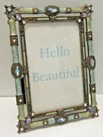 Beautiful Jeweled Blue Green Picture Frame 4x6 by Enchante Accessories