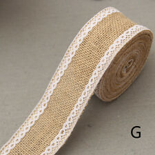 Rustic Vintage Lace Edged Hessian Burlap Ribbon Roll for Wedding Party Decor DIY a