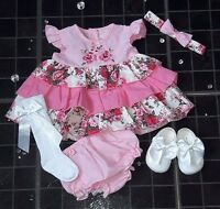NEW Baby Girls Spring Vintage Pink Floral 3 piece Dress set 0-24 months headband
